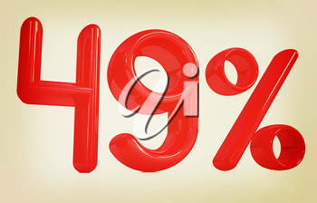 3d red 49 - forty nine percent on a white background. 3D illustration. Vintage style.