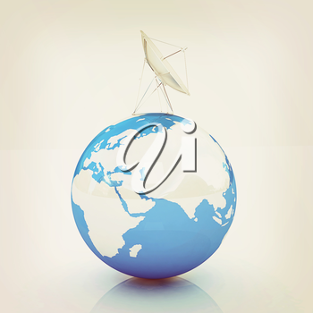 SAT and planet earth on a white background. 3D illustration. Vintage style.