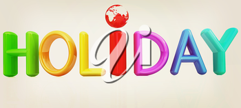 3d colorful text holiday on a white background. 3D illustration. Vintage style.