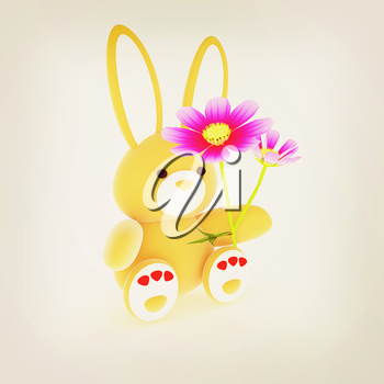 soft toy hare with a little red hearts on white paws and cosmos flower on a white background. 3D illustration. Vintage style.
