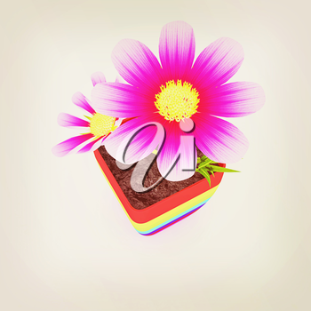 beautiful flower in the colorful pot. 3D illustration. Vintage style.