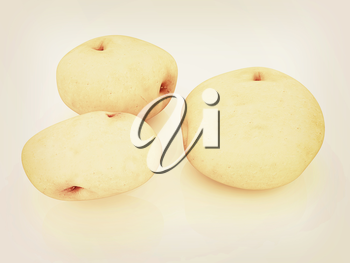 potato on a white background close up. 3D illustration. Vintage style.