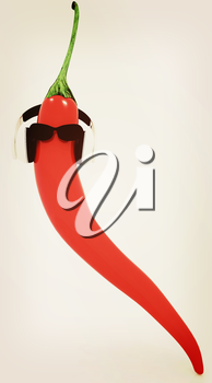 chili pepper with sun glass and headphones front face on a white background. 3D illustration. Vintage style.