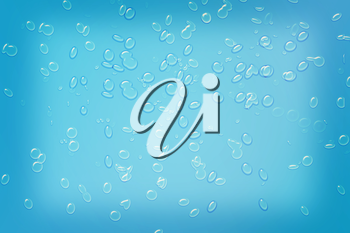 Blue water drops background texture. 3D illustration. Vintage style.