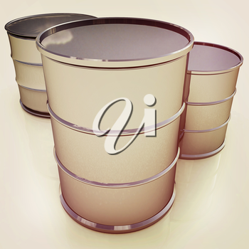 Metal barrels on white background. 3D illustration. Vintage style.