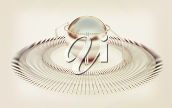 3d fantastic object with the ball. 3D illustration. Vintage style.
