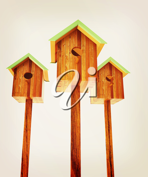 Nesting boxes on a white background. 3D illustration. Vintage style.