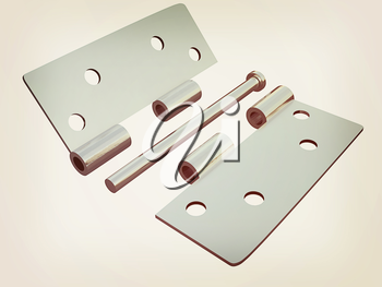 assembly metal hinges on a white background. 3D illustration. Vintage style.
