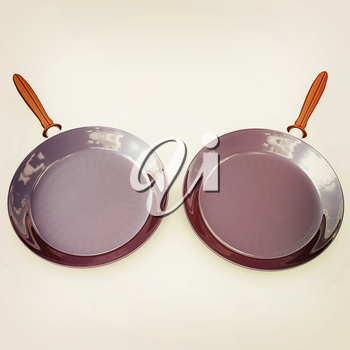 Pan with handle on white background. 3D illustration. Vintage style.
