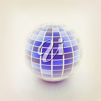 abstract 3d sphere with blue mosaic design on a white background. 3D illustration. Vintage style.