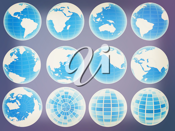 Set of 3d globe icons showing earth. 3D illustration. Vintage style.