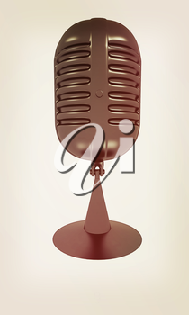 gray carbon microphone icon on a white background. 3D illustration. Vintage style.