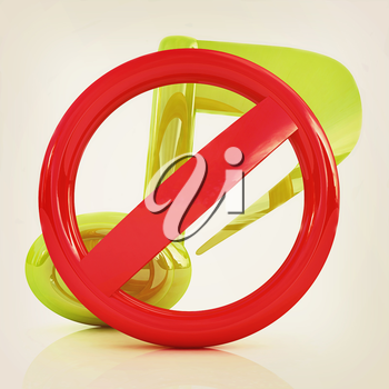 Prohibition of noise and music on a white background. 3D illustration. Vintage style.