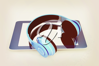 phone and headphones on a white background. 3D illustration. Vintage style.