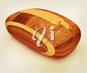 Wooden computer mouse on white background. 3D illustration. Vintage style.