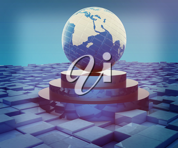 Earth on podium against abstract urban background. 3D illustration. Vintage style.