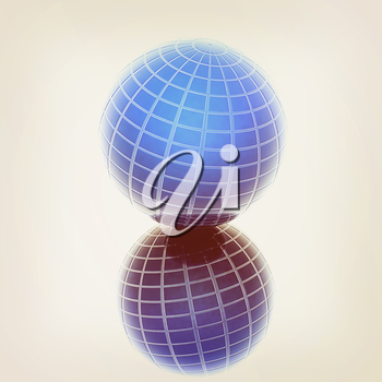Abstract 3d sphere with blue mosaic design on a white reflective background. 3D illustration. Vintage style.