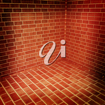 The corner of a brick . 3D illustration. Vintage style.