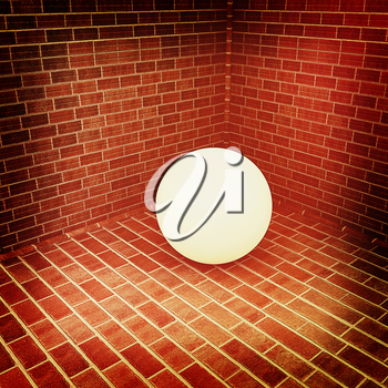 The white plastic ball in the corner of a brick . 3D illustration. Vintage style.