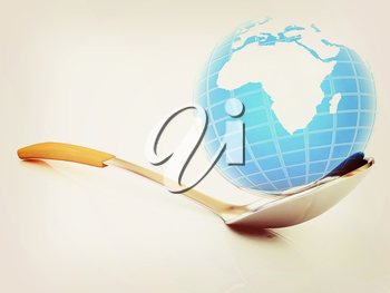Blue earth on spoon on a white background. 3D illustration. Vintage style.