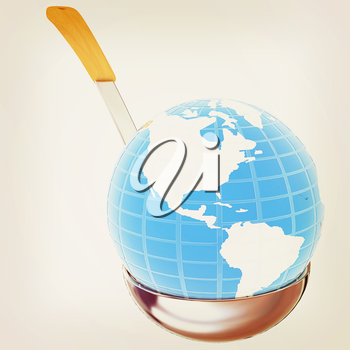 Blue earth on soup ladle on a white background. 3D illustration. Vintage style.