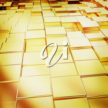 Gold urban background (close-up) . 3D illustration. Vintage style.
