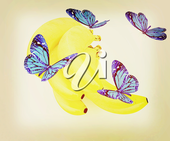 Blue butterflys on a bananas on a white background . 3D illustration. Vintage style.