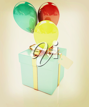 Gift box with balloon for summer on a white background. 3D illustration. Vintage style.