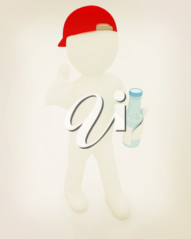 3d man with a water bottle with clean blue water on a white background. 3D illustration. Vintage style.