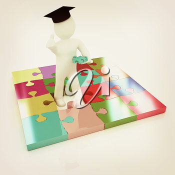 3d man in a graduation Cap with thumb up with individual puzzles on a white background. 3D illustration. Vintage style.