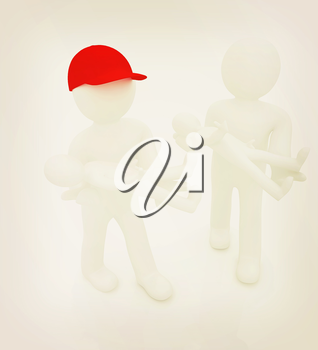 3d man with child. 3d render on a white background. 3D illustration. Vintage style.