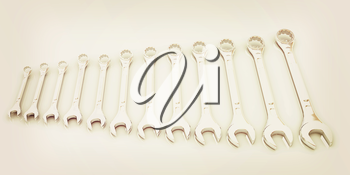 Set of wrenches on a white background. 3D illustration. Vintage style.