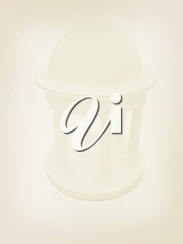Rotunda on a white background . 3D illustration. Vintage style.
