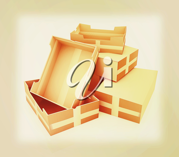 Cardboard boxes on a white background. 3D illustration. Vintage style.