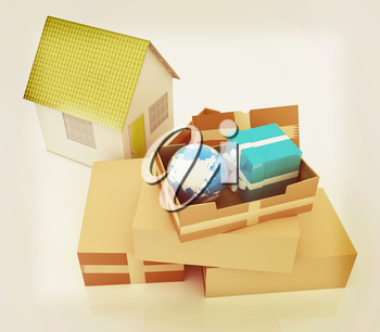 Cardboard boxes, gifts, earth and houses on a white background. 3D illustration. Vintage style.