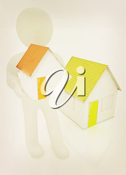 3d man with house on a white background. 3D illustration. Vintage style.