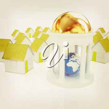 Earth in rotunda and houses on a white background. 3D illustration. Vintage style.