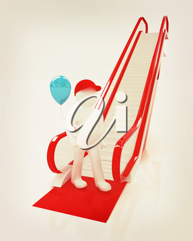 Escalator and 3d man with balloon on a white background. 3D illustration. Vintage style.