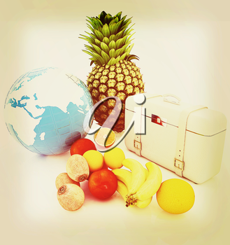 Citrus,earth and traveler's suitcase on a white background. 3D illustration. Vintage style.