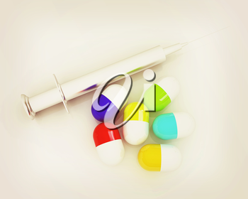 Pills and syringe on a white background. 3D illustration. Vintage style.
