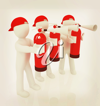 3d mans with red fire extinguisher on a white background. 3D illustration. Vintage style.