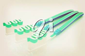 Toothbrushes on a white background . 3D illustration. Vintage style.