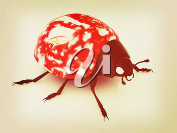Ladybird on a white background. 3D illustration. Vintage style.