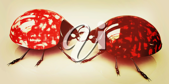 Ladybirds on a white background. 3D illustration. Vintage style.
