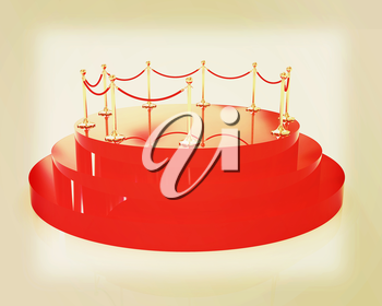 3D glossy podium with gold handrail on a white background. 3D illustration. Vintage style.
