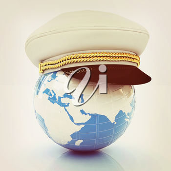 Marine cap on Earth on a white background. 3D illustration. Vintage style.