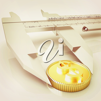 Vernier calipers with coin isolated over white background . 3D illustration. Vintage style.