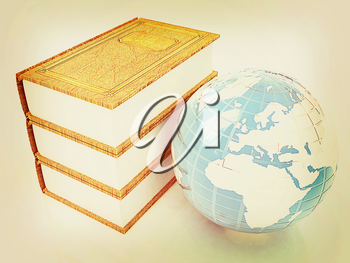 leather real books and Earth. 3D illustration. Vintage style.
