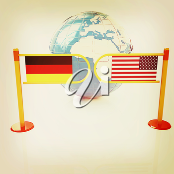 Three-dimensional image of the turnstile and flags of USA and Germany on a white background . 3D illustration. Vintage style.