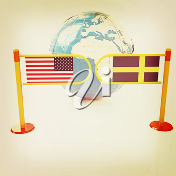Three-dimensional image of the turnstile and flags of USA and Sweden on a white background . 3D illustration. Vintage style.